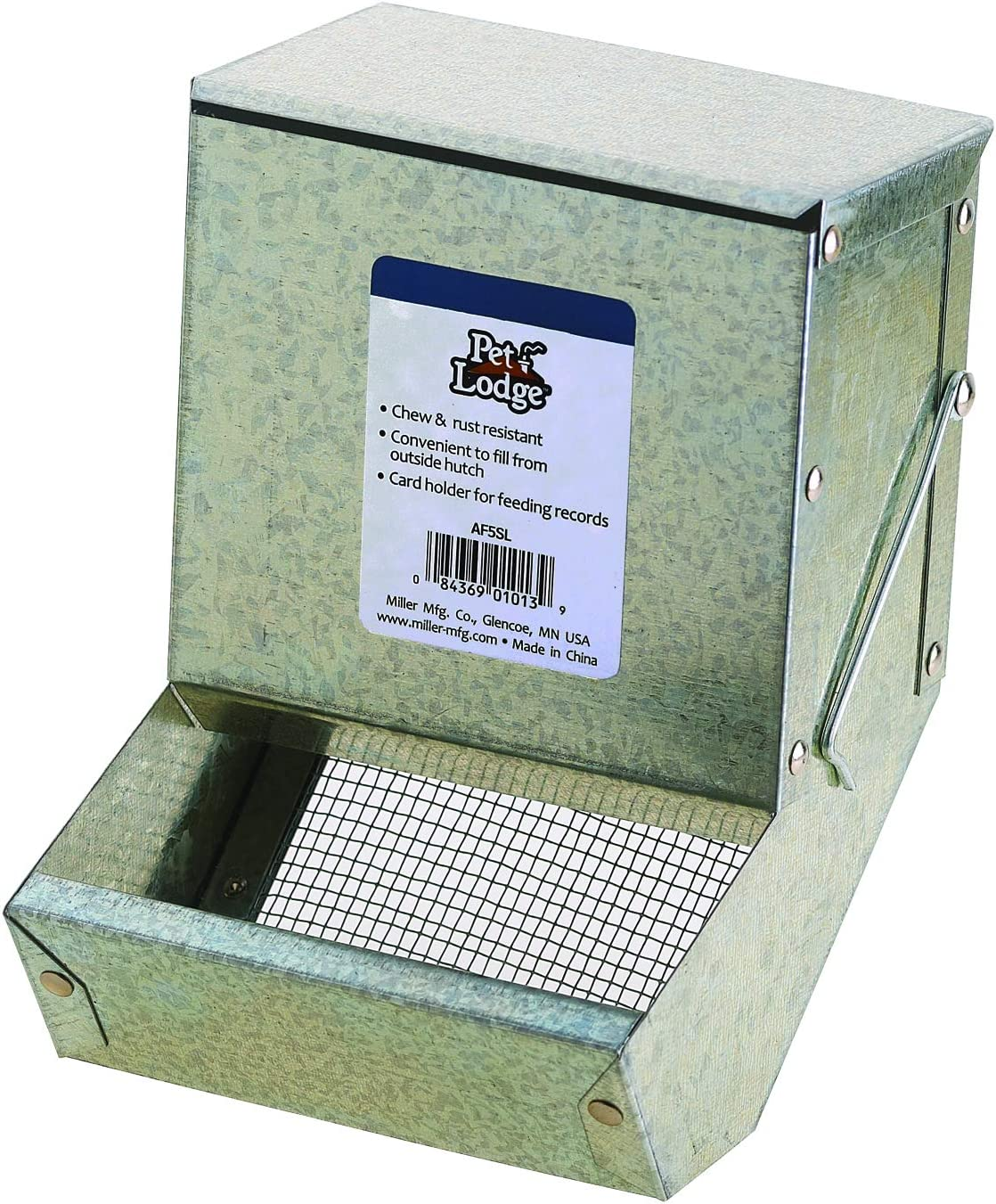 Pet Lodge Steel Small Animal Feeder with Lid and Sifter Bottom Small Animal Feed Box, Hold Several Days Worth of Feed, Great for Rabbits, Ferrets and Other Small Animals (5 Inch) (Item No. AF5SL)