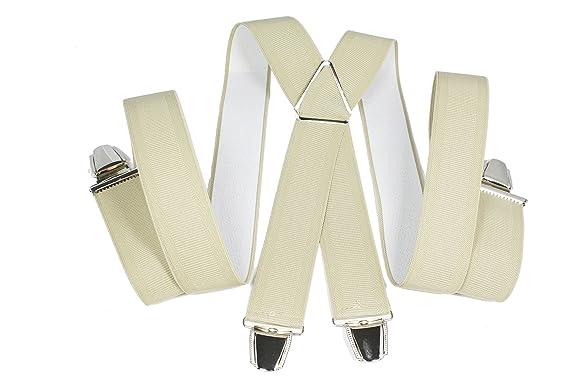 a0cd66a3d YEHMAN Bretelle large X Made in France 3.5 cm 4 grosses pinces/clips de  fabrication allemande Homme Femme
