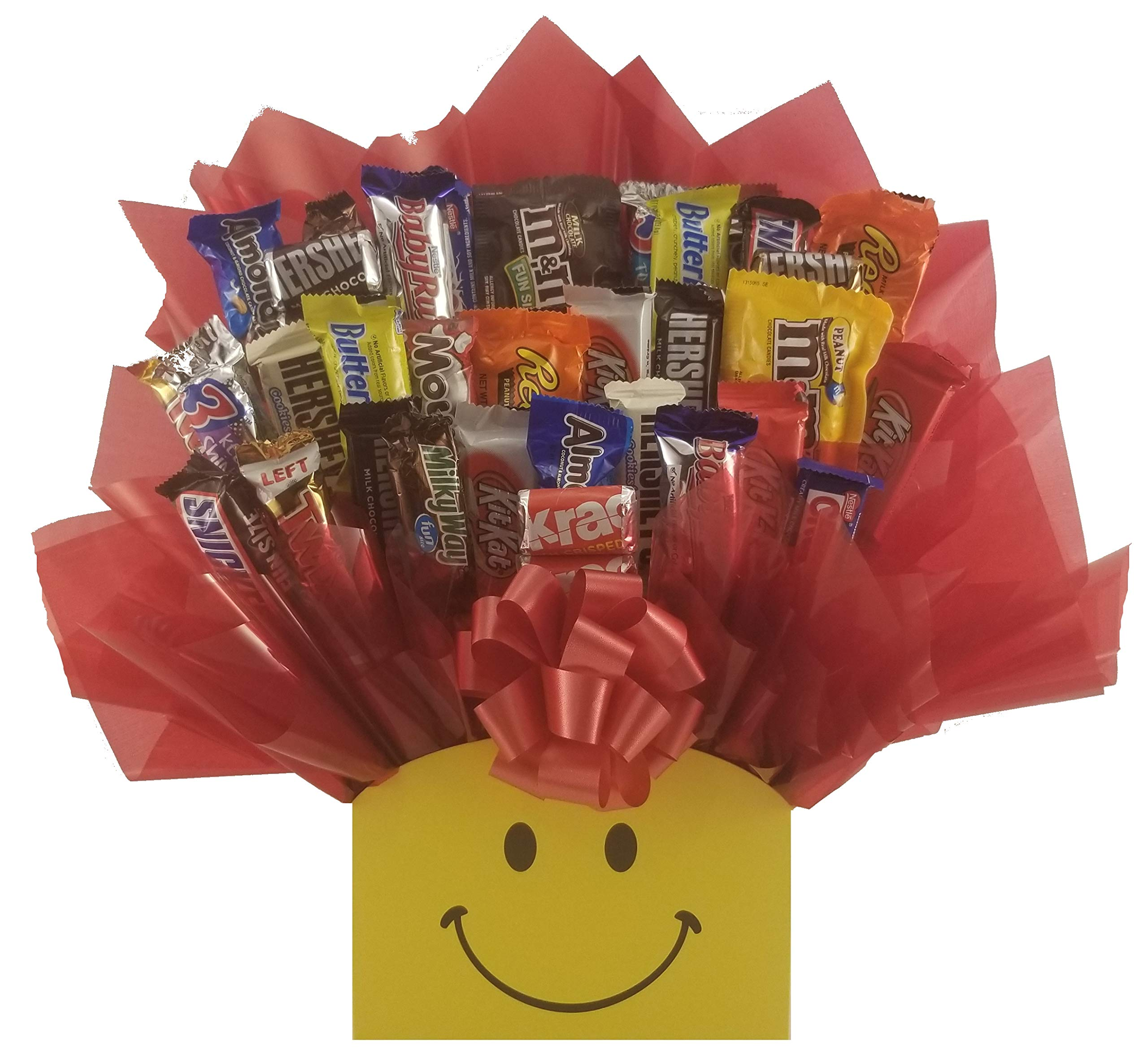 Smiley Face Chocolate Candy Bouquet gift basket box - Great gift for Birthday, Get Well, Thank You, Congratulations, Christmas or for any occasion for family, friends or business client customer. by So Sweet of You