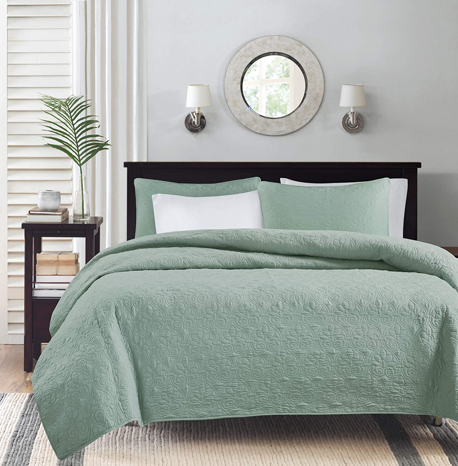 Grey Madison Park Claire King//Cal King Size Quilt Bedding Set Aqua 6 Piece Bedding Quilt Coverlets Ultra Soft Microfiber Bed Quilts Quilted Coverlet Leaf Geometric Renewed