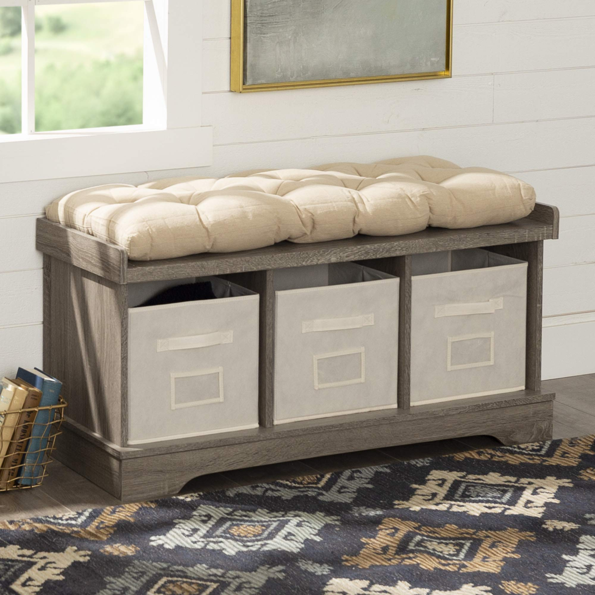 WE Furniture AZ42STCAG Storage Bench, Driftwood by WE Furniture