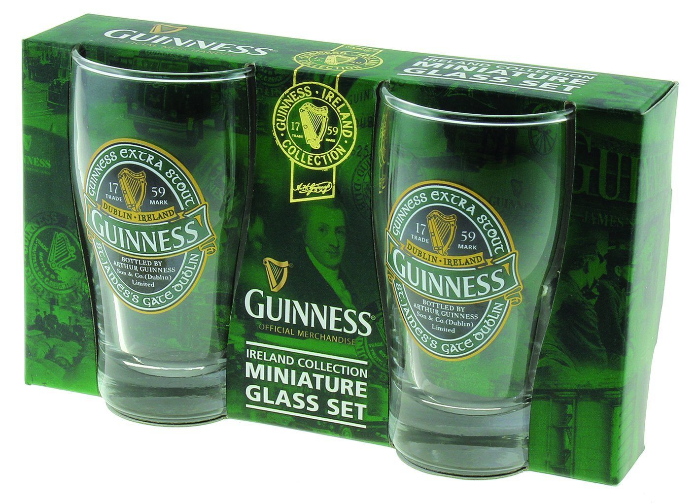 Guinness Green Collection Mini Pint Glass, Set of 2 - Shot Glass Size - Perfect for St. Patrick's Day Set of 2 - Shot Glass Size - Perfect for St. Patrick's Day COMINHKPR137228