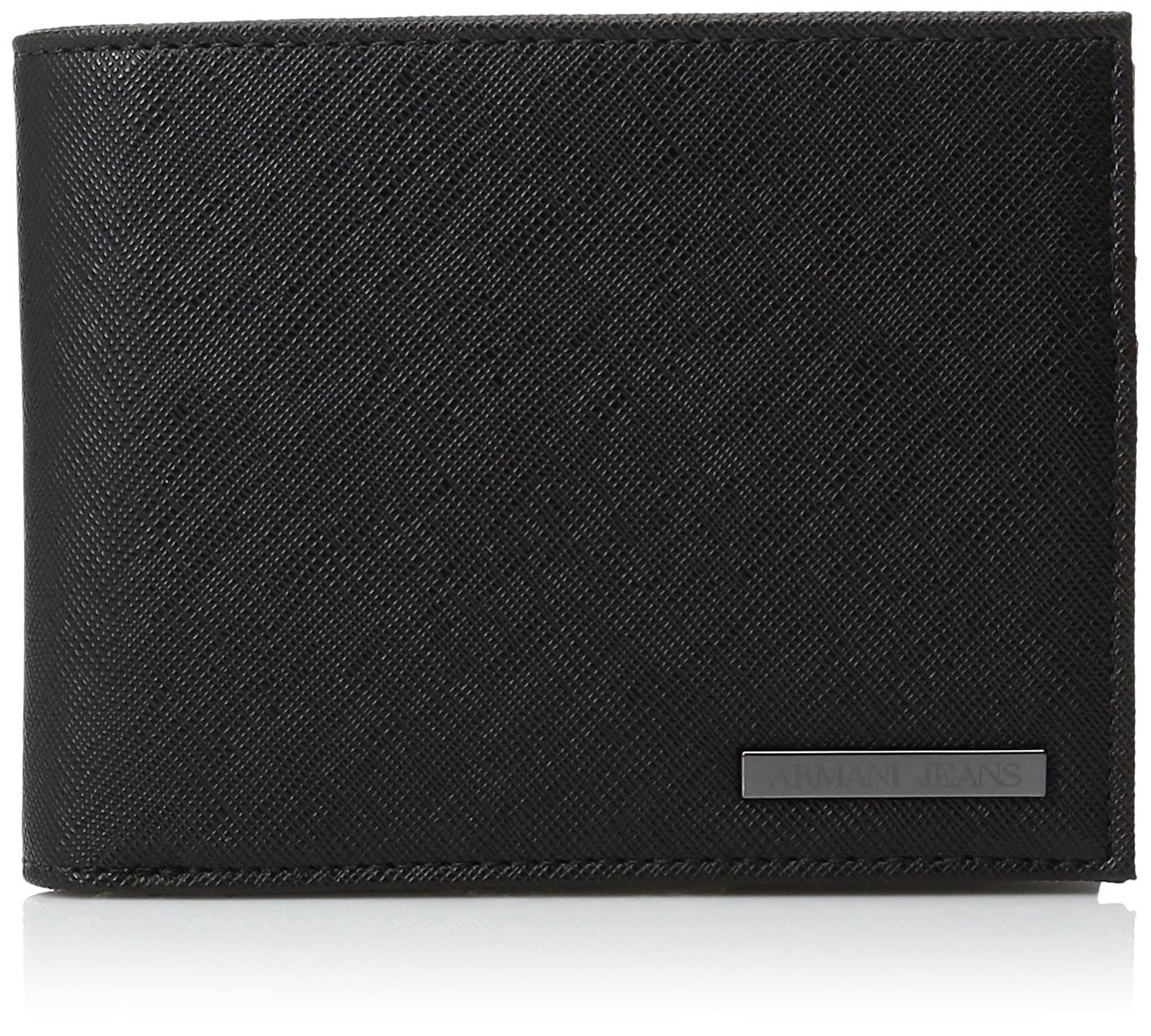 Armani Jeans Men's Safiano Embossed Pu Bifold Wallet With Coin Pocket black One Size 938538CC9910020