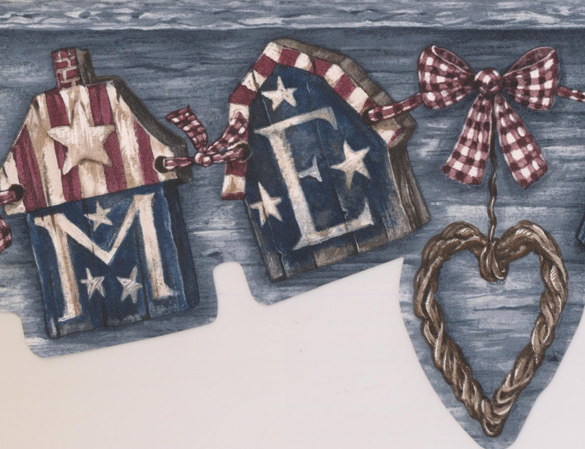 USA American Flags Heart Welcome Vintage Grey Wallpaper Border Retro Design, Roll 15' x 5''