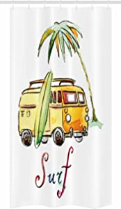"Ambesonne Surfboard Stall Shower Curtain, Hand Drawn Surfing Car Summertime Seaside Traveling Vehicle Palm Tree Vacation, Fabric Bathroom Decor Set with Hooks, 36"" X 72"", Multicolor"