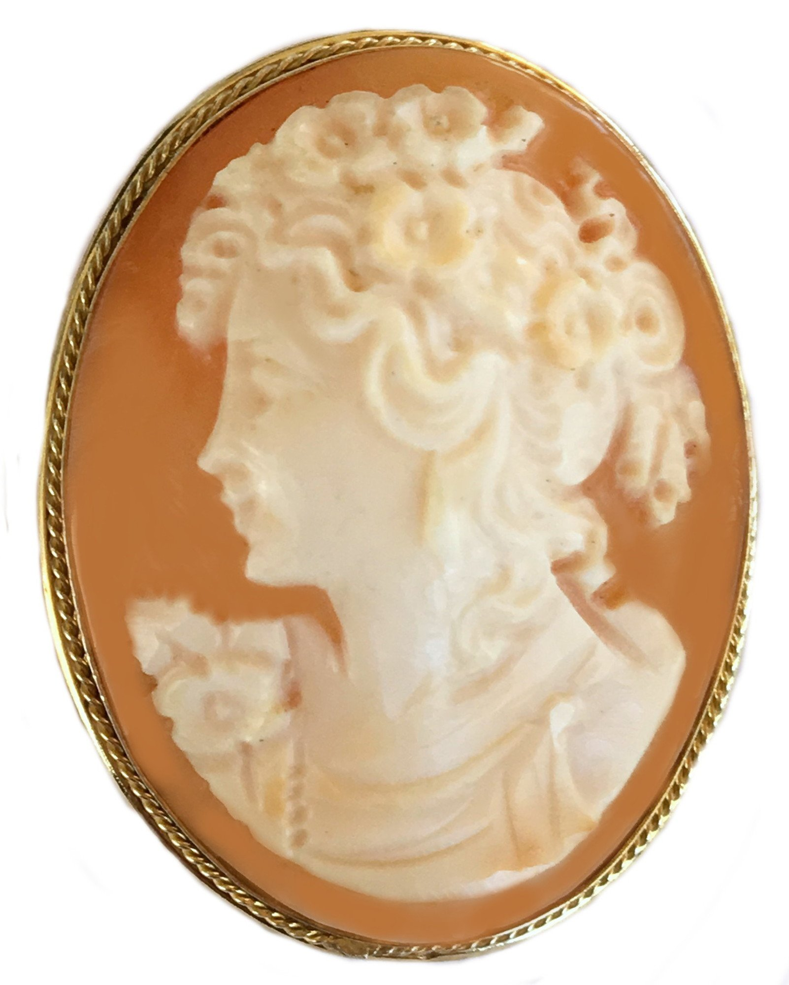 Cameo, Master Carved, Summer Dream Pin Pendant Brooch Sterling Silver Carnelian Shell Italian