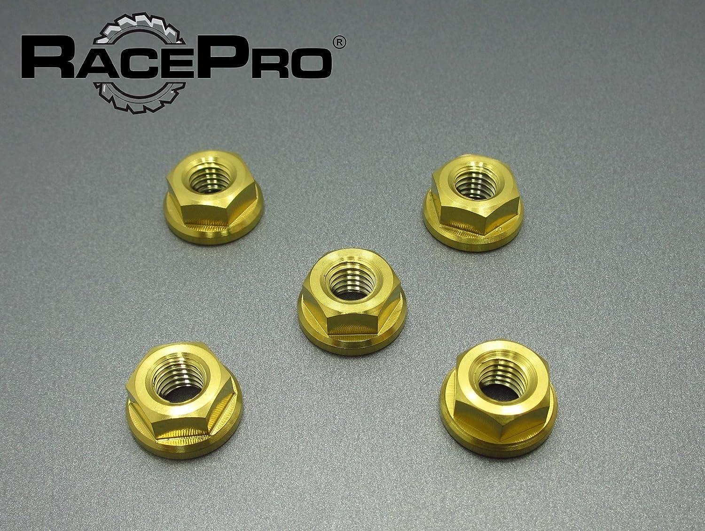 RacePro Honda CB600 Hornet FY-F6 2001 x5 Titanium Rear Sprocket Nuts Gold.
