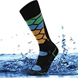 SuMade 100% Waterproof Socks, Summer Breathable Knee High Cushioned Wicking Cycling Hiking Camping Fishing Socks 1 Pair
