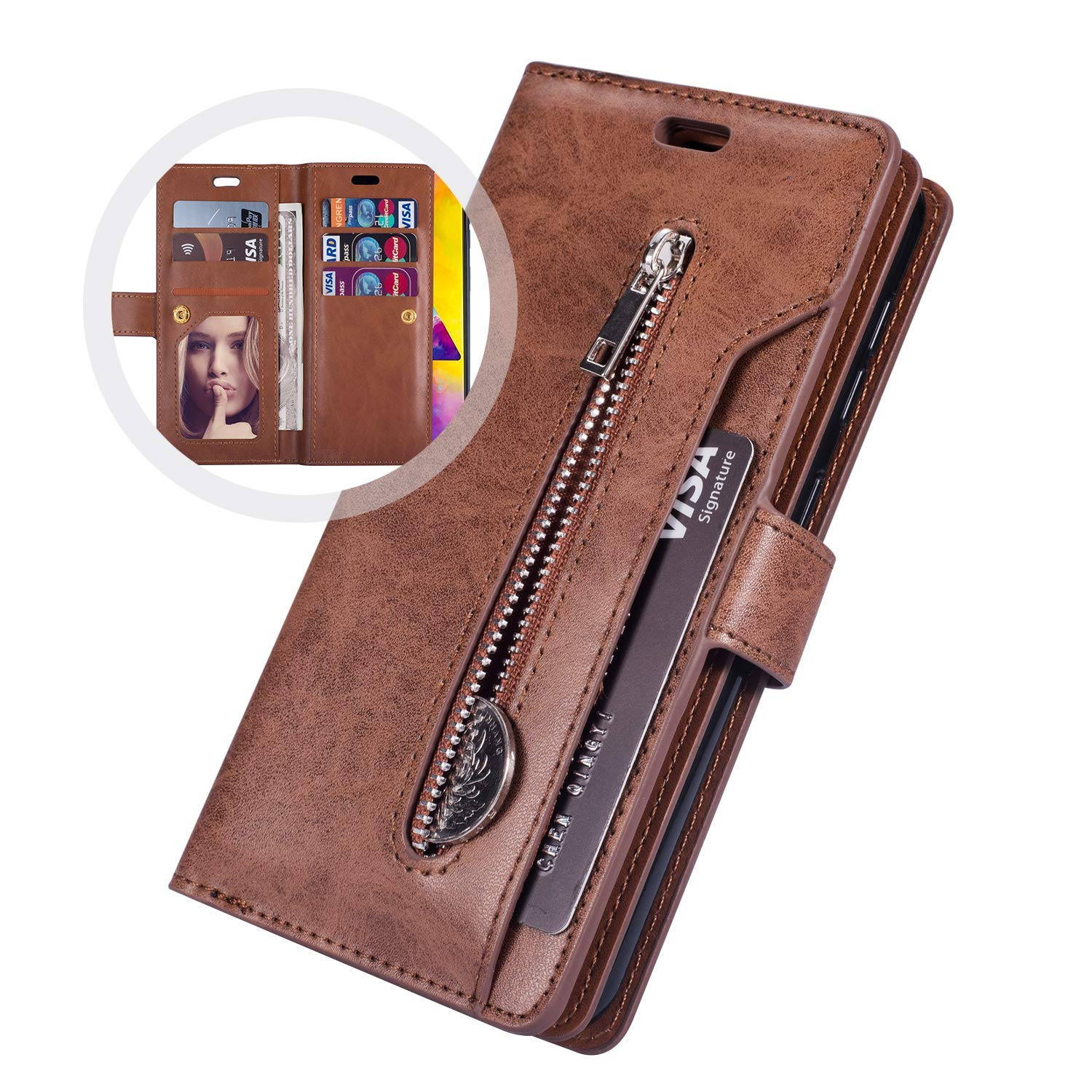 Case for Samsung Galaxy J3 Emerge,Galaxy J3 Prime Case,Amp Prime 2 / Express Prime 2 Case,PU Leather Flip Wallet Case Protective Case Cover Multi-Function 9 Credit Card Holders Zipper Coin Purse,Brown by PHEZEN