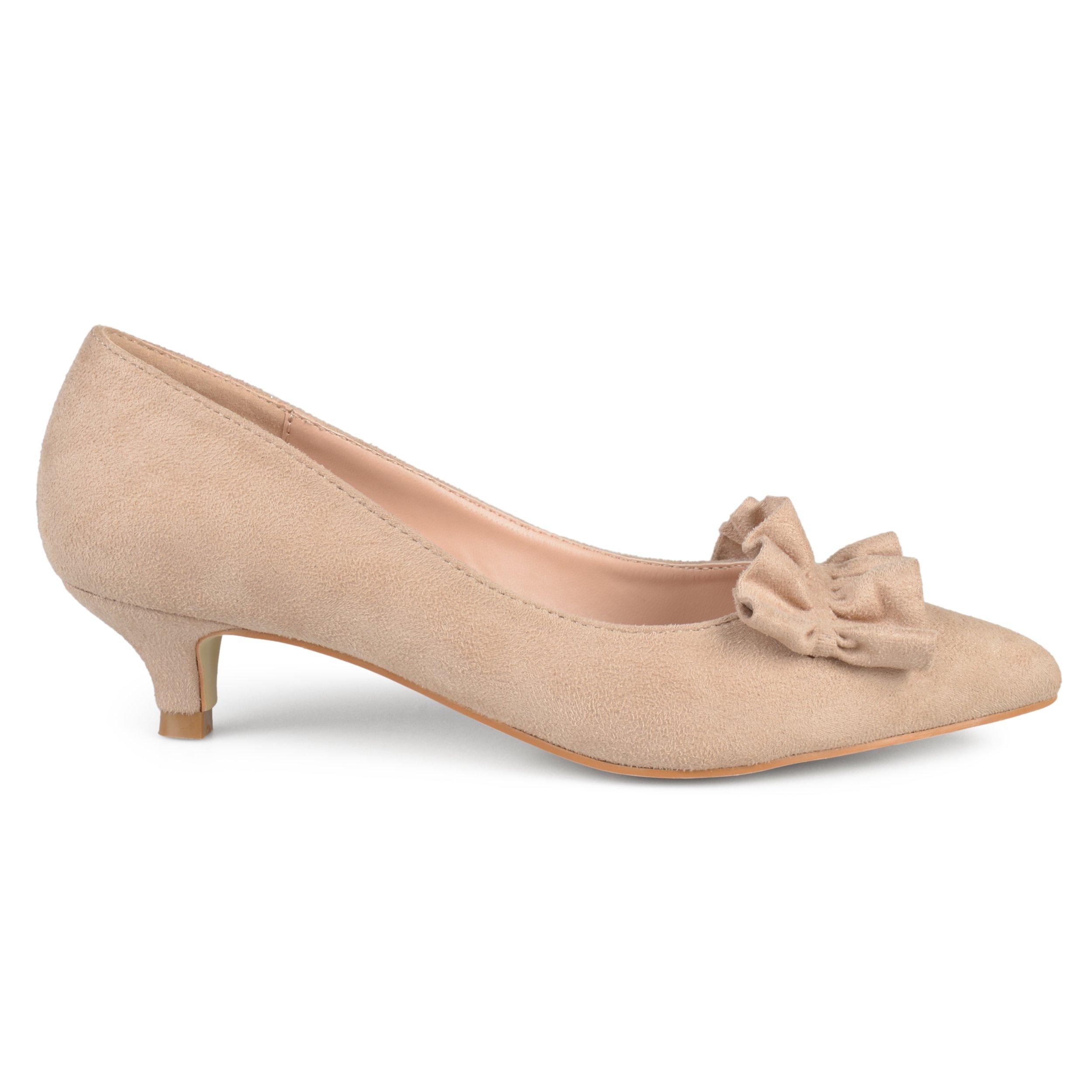Brinley Co. Womens Faux Suede Ruffle Kitten Heels Taupe, 8.5 Regular US