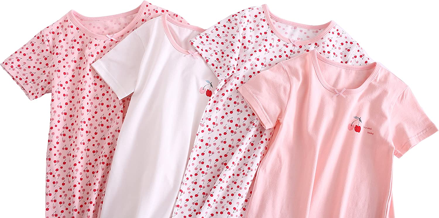 ABClothing Girls Cotton Cherry Camicia da Notte Rosa 2-12 Anni