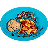 Qshare Toddler Plates, One-Piece Baby Plate for Babies Toddlers and Kids, BPA-Free FDA Approved Strong Suction Plates for Toddlers, Dishwasher and Microwave Safe Silicone Placemat 28 * 20 * 2.5cm