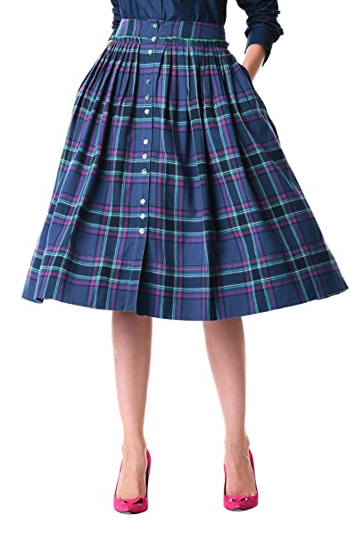 Retro Skirts: Vintage, Pencil, Circle, & Plus Sizes eShakti Womens Ruffle Frill Trim Cotton Twill Check Skirt $54.95 AT vintagedancer.com