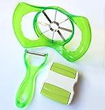 Jumbo Apple Slicer Set of 3 - Apple Corer Slicer Peeler - Julienne Vegetable Peeler With Stainless Steel Blades - Apple Peeler- 3 Colors - Gift Packaging (Green)