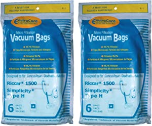 12 Riccar Simplicity Type H Vacuum Bags, Canister Vacuum Cleaners, S13L, S14CL, S18, S24, S30, S36, S38, 1500