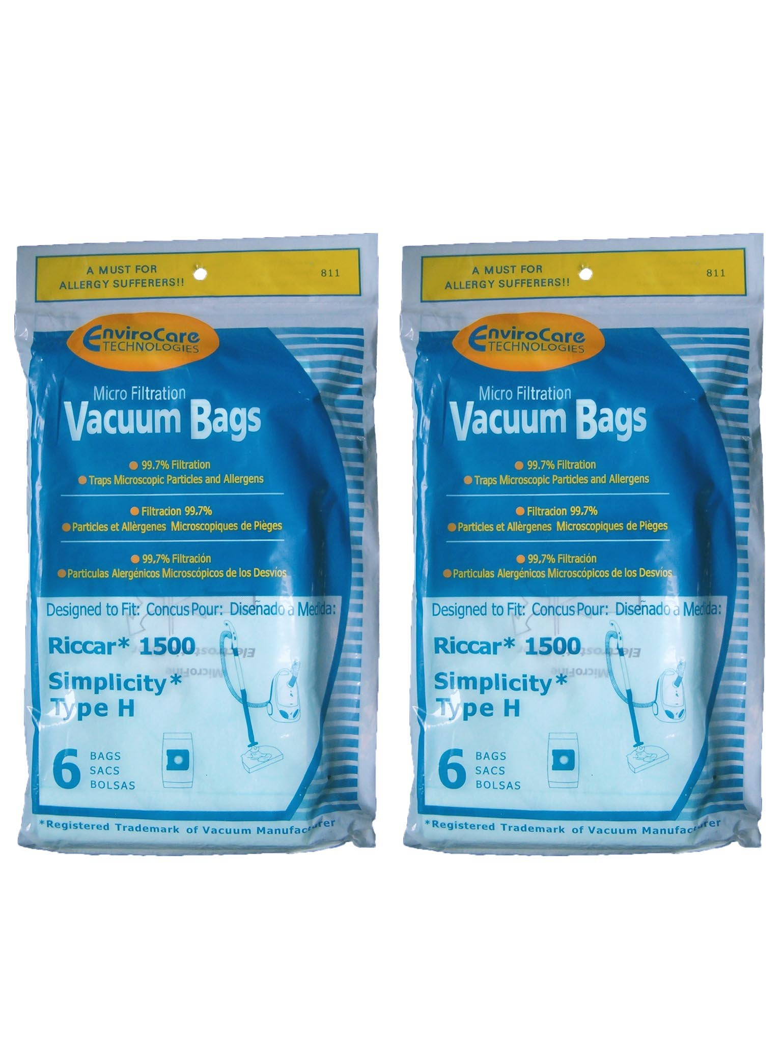 EnviroCare Replacement Micro Filtration Vacuum Bags for Riccar 1500 and Simplicty Type H 12 Bags