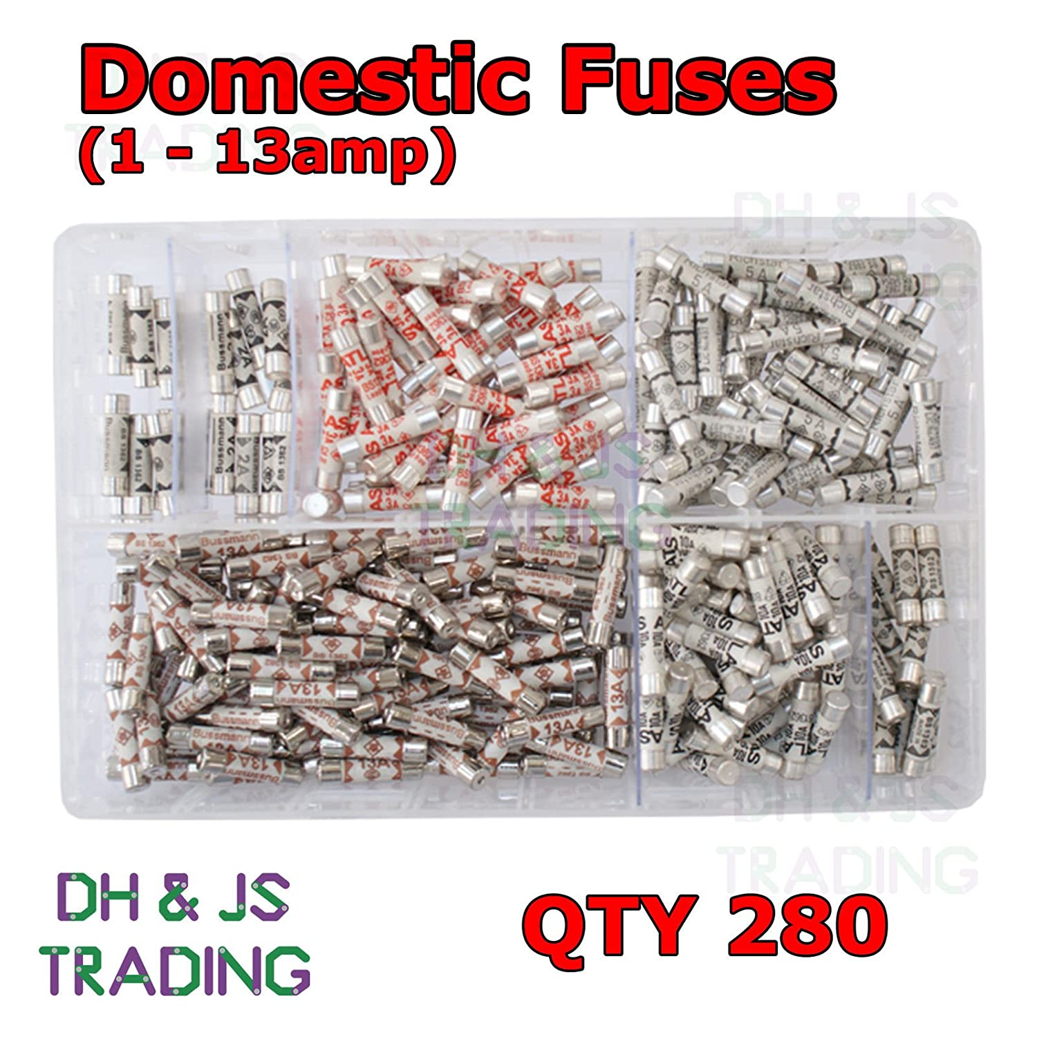 Assorted Box of Domestic Fuses 1 2 3 5 7 10 13 a amp Plug Top Fuse Qty 280 DH & JS Trading