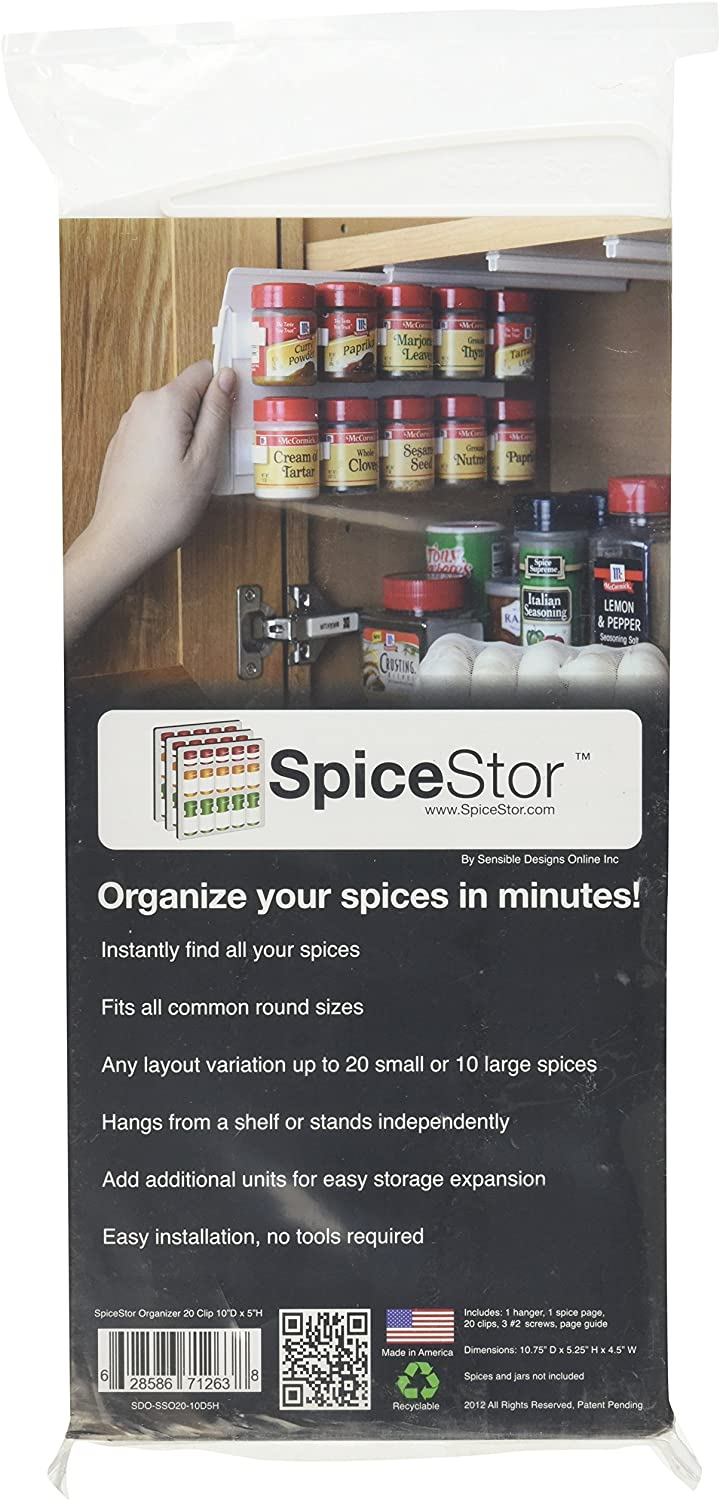 Use Spice Clips for Spice Organizer 40 Spice with Strong Tape Spice Rack Gripper Spice Racks Strips Cabinet Cabinet Door Stick or Screw Spice Storage Spice Clips