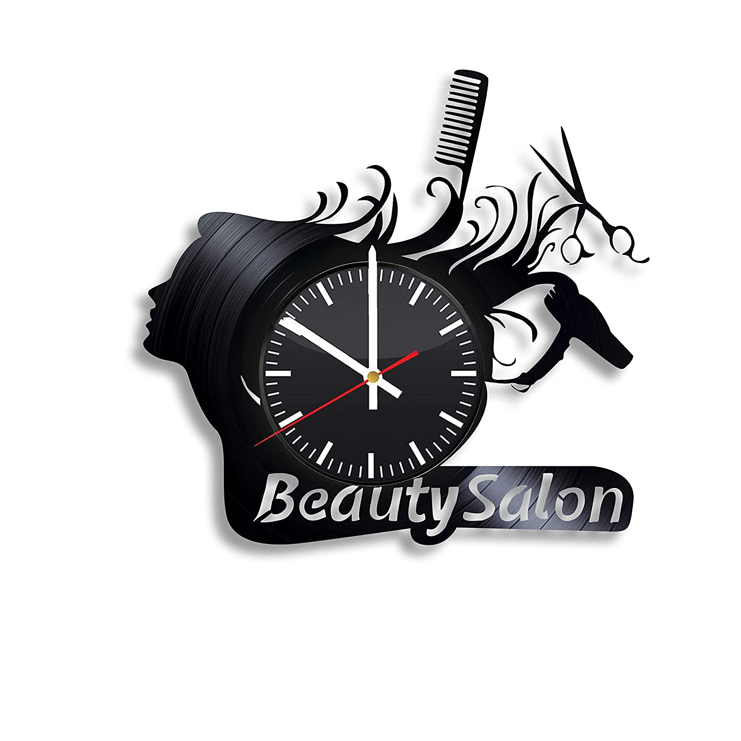 Beauty Salon Vinyl Wall Clock, Hairdresser Tools Art Handmade Gift Idea for Any Occasion, Original Home Room Kitchen Decor, Vintage Modern Style Theme
