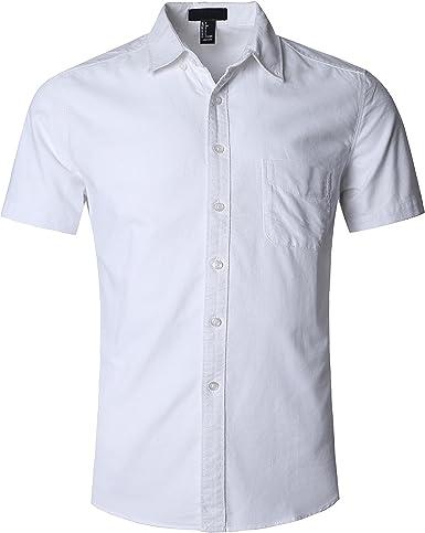 SOOPO - Camisa Casual - para Hombre Blanco Blanco XL: Amazon.es: Ropa y accesorios