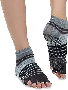 Gaiam Grippy Yoga Socks for Women & Men – Toeless Non Slip Sticky Grip Accessories for Yoga, Barre, Pilates, Dance, Ballet