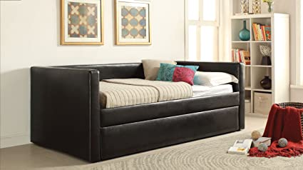 Groovy Acme Aelbourne Black Faux Leather Daybed Trundle Download Free Architecture Designs Scobabritishbridgeorg