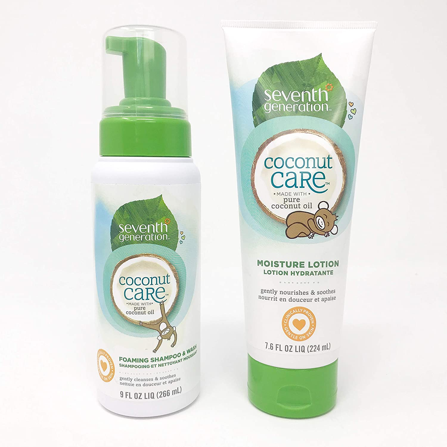 Seventh Generation Baby Care Shampoo & Body Wash and Body Lotion Set: 1) Foaming Shampoo & Wash and 1) Moisture Lotion | USDA Certified Biobased Product | Gluten Free | Gentle On Baby's Skin