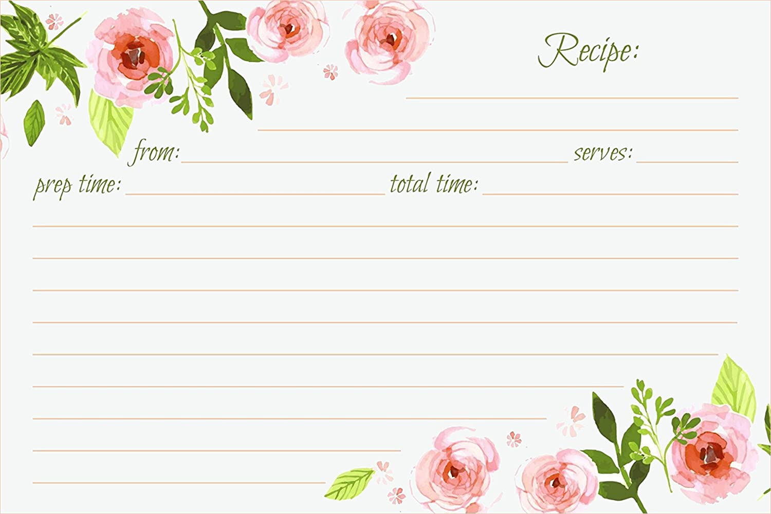 amazon com jot mark recipe cards floral double sided 4x6 50 count