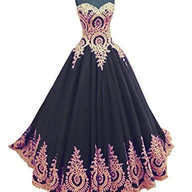 Angela Sweetheart Long Puffy Gold Lace Prom Dresses Ball Gown
