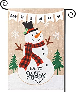 YEAHOME Christmas Garden Flag, LET IT Snow Yard Flag with Snowman, 12.5 x 18 Vertical Double Sided Burlap Winter Xmas Decorations Outdoor