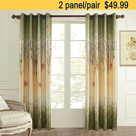 curtains drapes 2 panel all sizes koting green maple tree lined window curtains grommet top