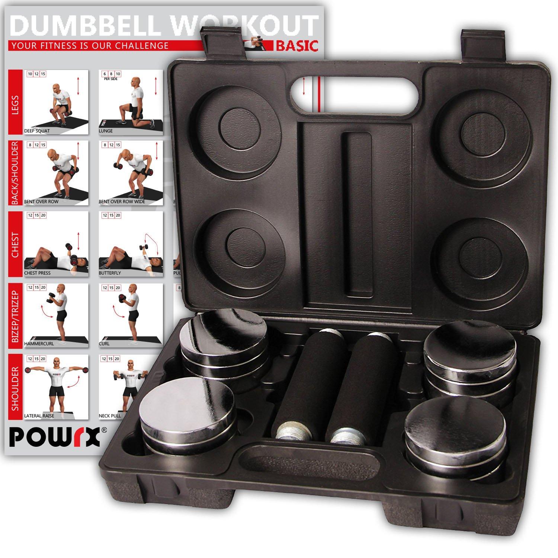 POWRX - Juego de Pesas de 5 kg Incluye maletín | Set de 2 Mancuernas cromadas con Mango de Espuma | Mancuernas para Fitness Entrenamiento de la Fuerza, ...