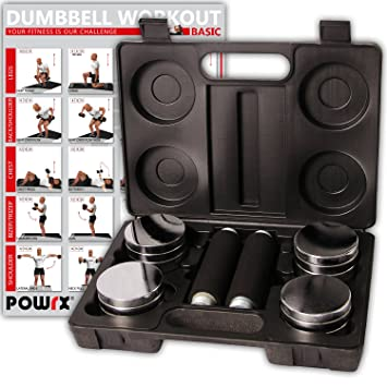 POWRX – Juego de Pesas de 5 kg Incluye maletín | Set de 2 Mancuernas cromadas