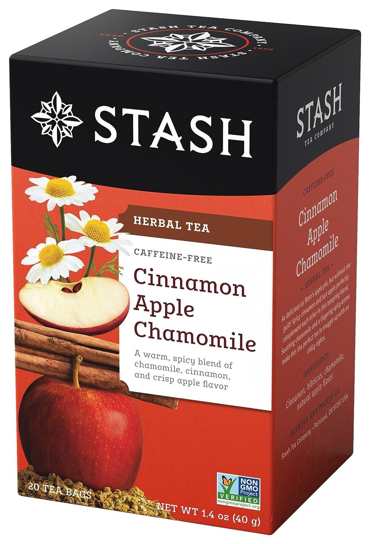 Stash Tea Cinnamon Apple Chamomile Herbal Tea 20 Count Tea Bags in Foil (Pack of 6) Individual Spiced Herbal Tea Bags for Use in Teapots Mugs or Teacups, Brew Hot Tea or Iced Tea