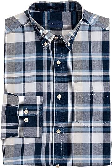 Gant Hombres Camisa de Cuadros con Ajuste Regular Azul XL ...