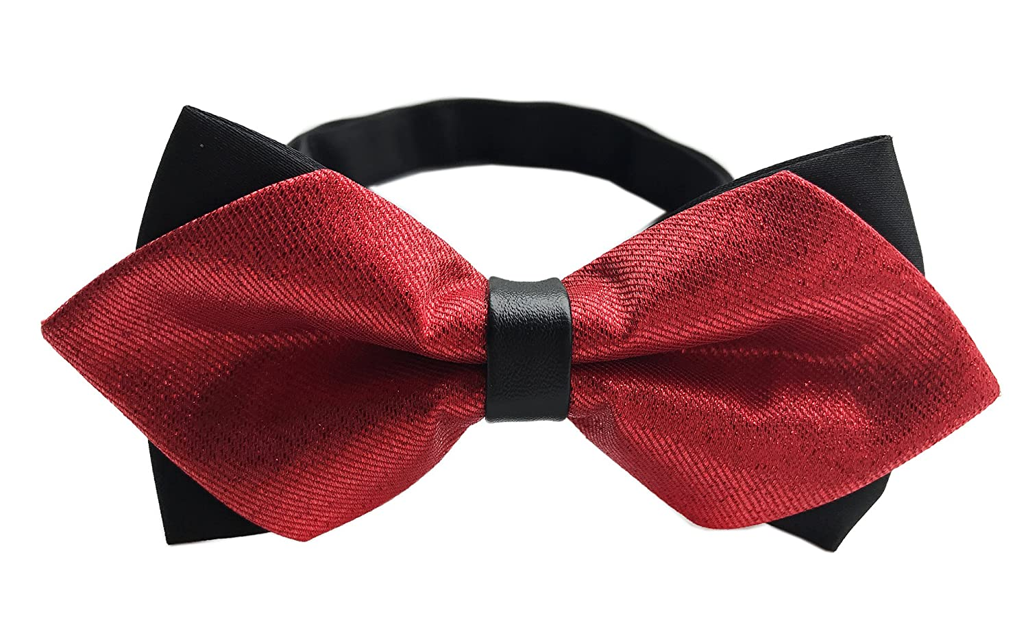 Elfeves Solid Color Pre-tie Bow Ties Double Layers Party Bowtie for Men Big Boy May18B20180507-18