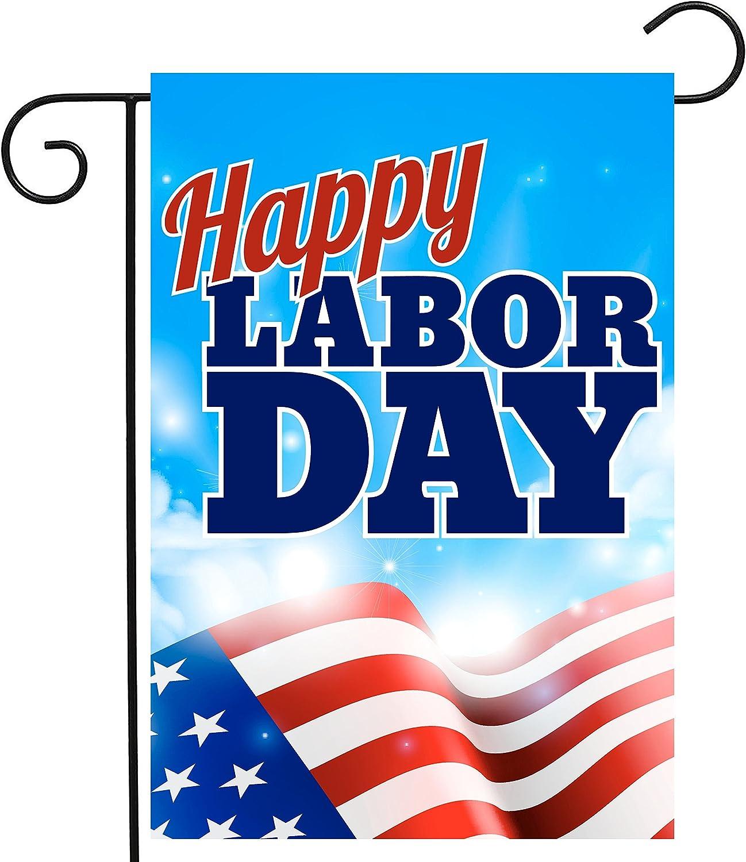 ShineSnow USA American Flag Labor Day Garden Yard Flag 12