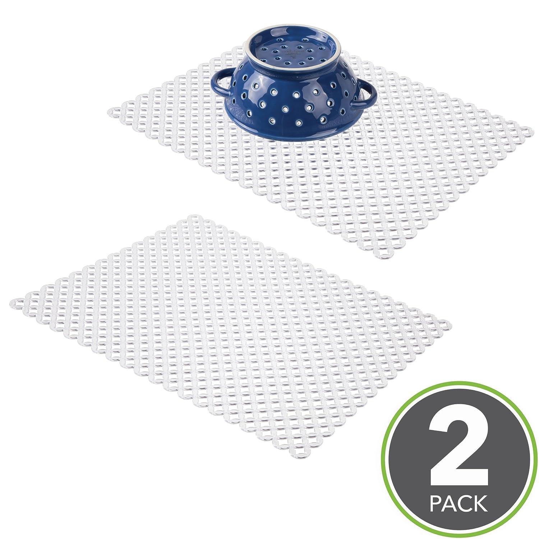 mDesign Tappetino Protettore Lavello Cucina - Grande, Trasparente - Set da 2 MetroDecor