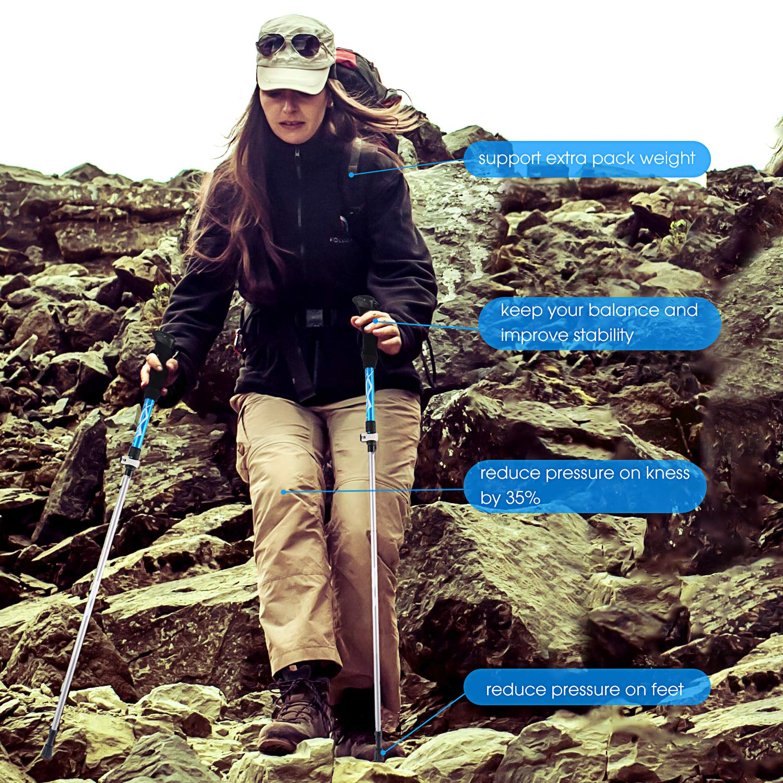 Walking Sticks for Hiking Lightweight Adjustable Unisex Folding Hiking Poles Traveling Trekking Mountaining Camping Walking Trekking Poles- 2 Pack w//Antishock and Quick Lock System