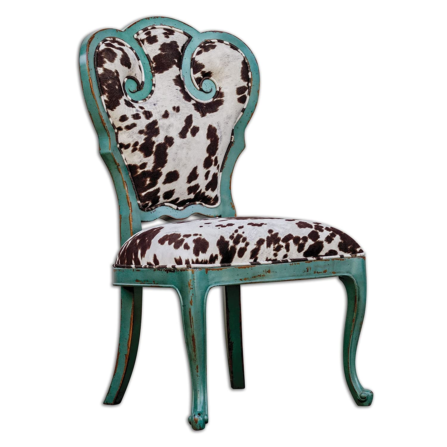 Amazon Retro Aqua Blue Scroll Side Chair with Cow Print
