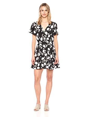 5814f3df6e J.O.A. Women s Floral Printed Button Down Fit   Flare Dress at ...