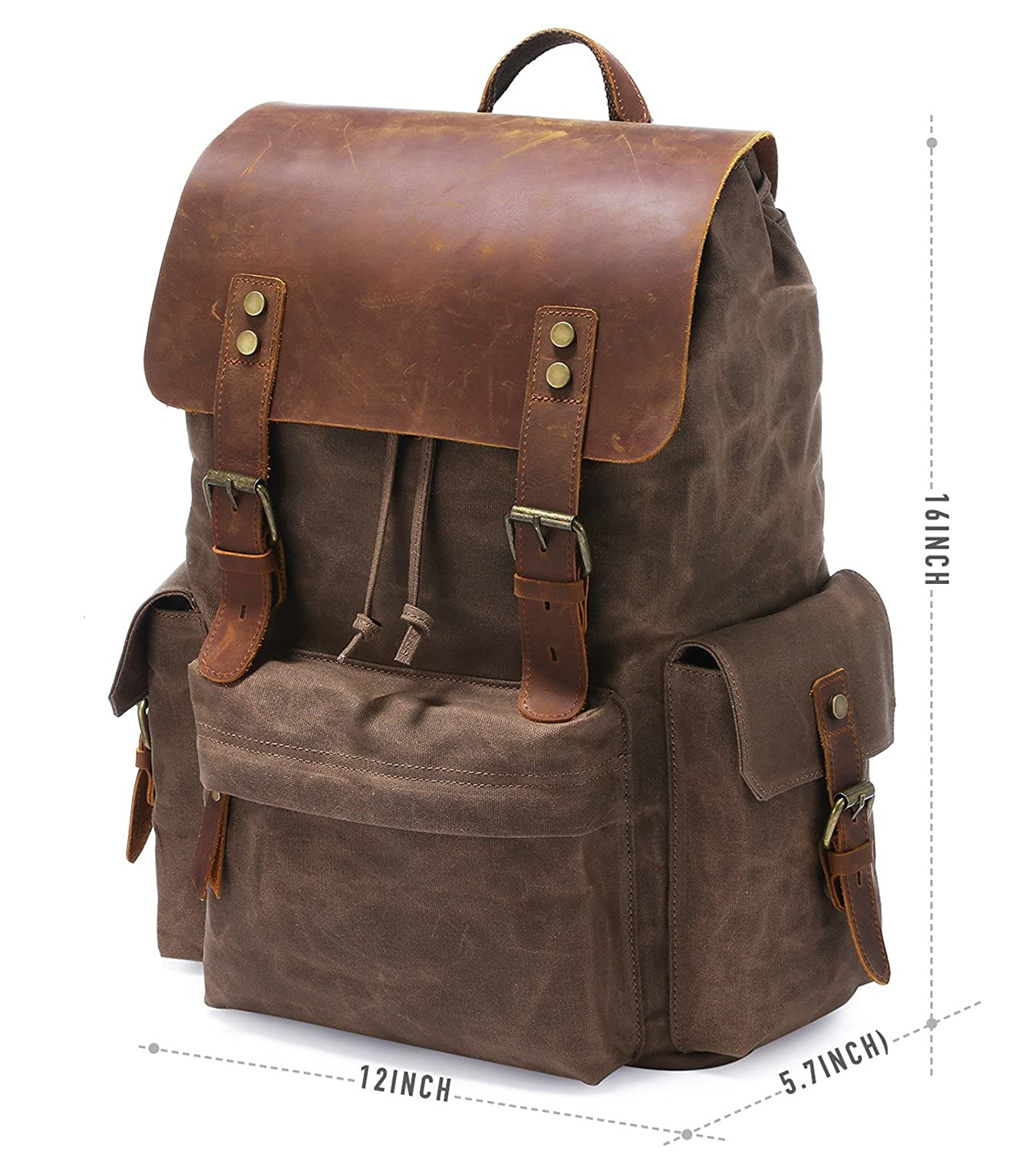 113589786b Kattee Mens Leather Canvas Backpack- Fenix Toulouse Handball
