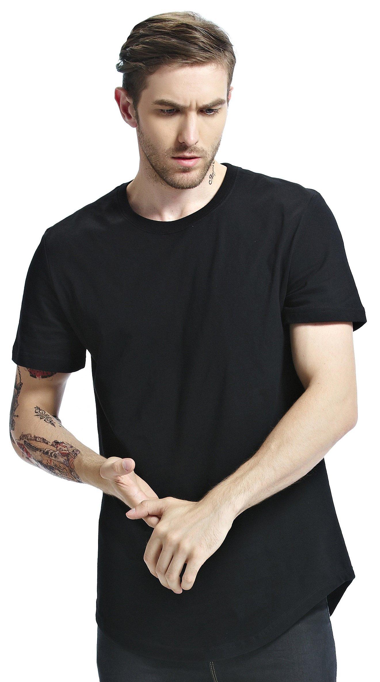 Bertte Mens Hipster Hip Hop Basic Longline Curved Hem Crewneck Short Sleeve T-shirt, Solid Color Black, Large
