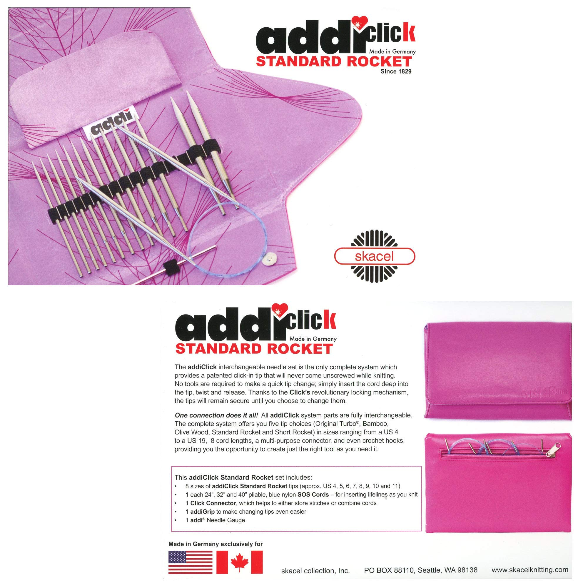 addi Click Standard Rocket Lace Long Tip Interchangeable Circular Knitting Needle System with Exclusive Blue Cords by addi (Image #3)