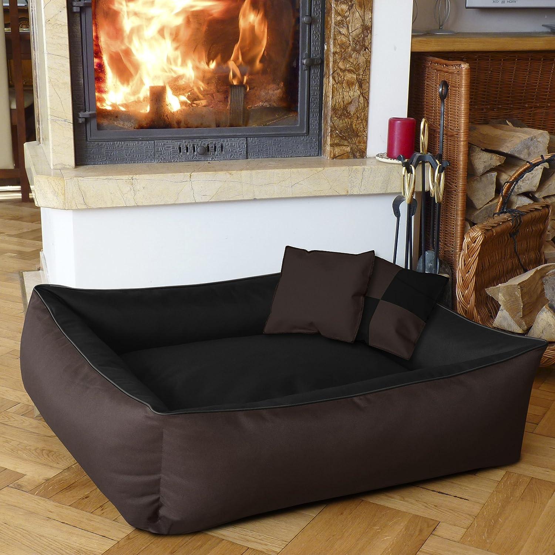 XXL env 120x85 cm,Panier corbeille lit pour chien coussin de chien noir//brun BedDog MAX QUATTRO 2en1