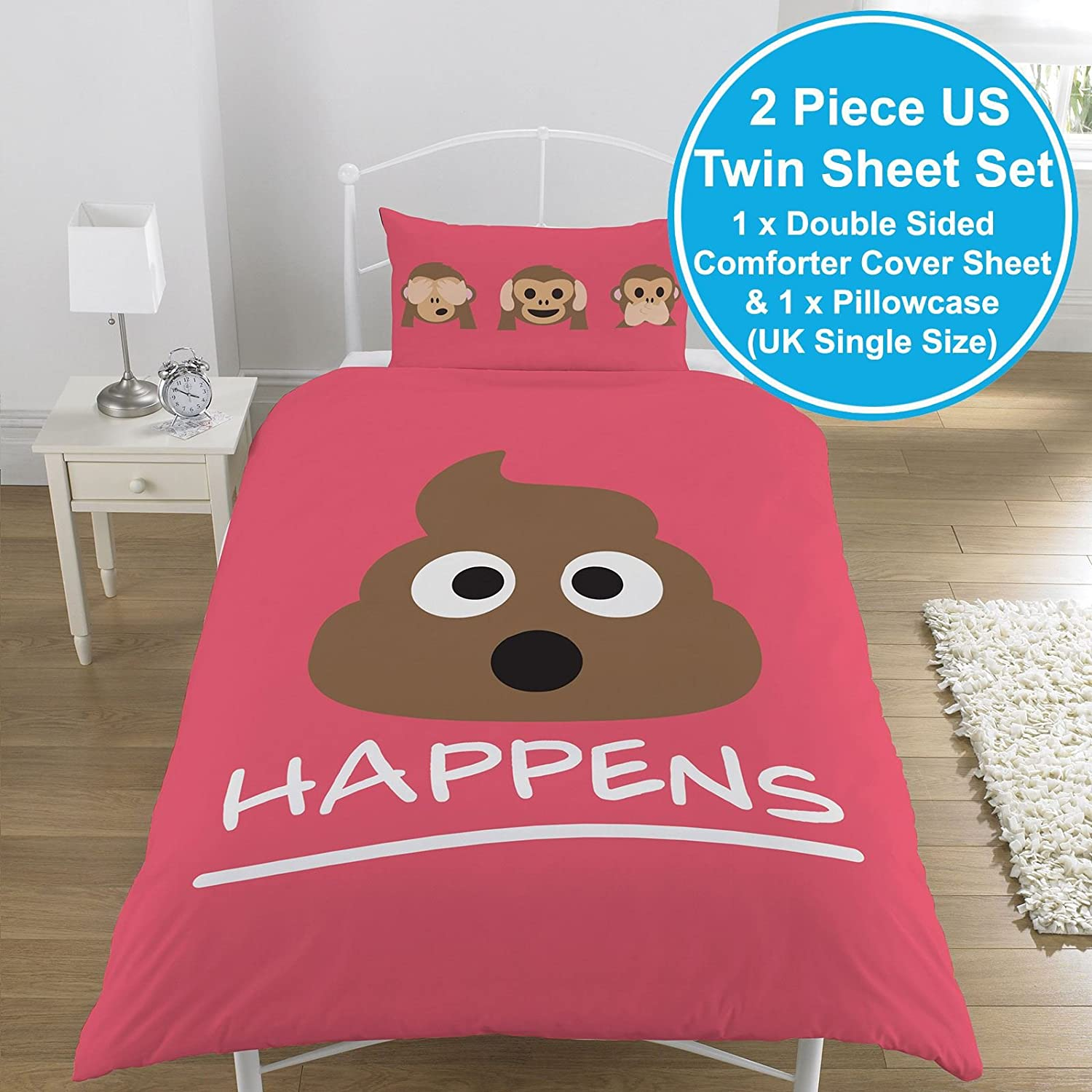 amazon com emoji mr poo 2 piece uk single us twin sheet set 1 x