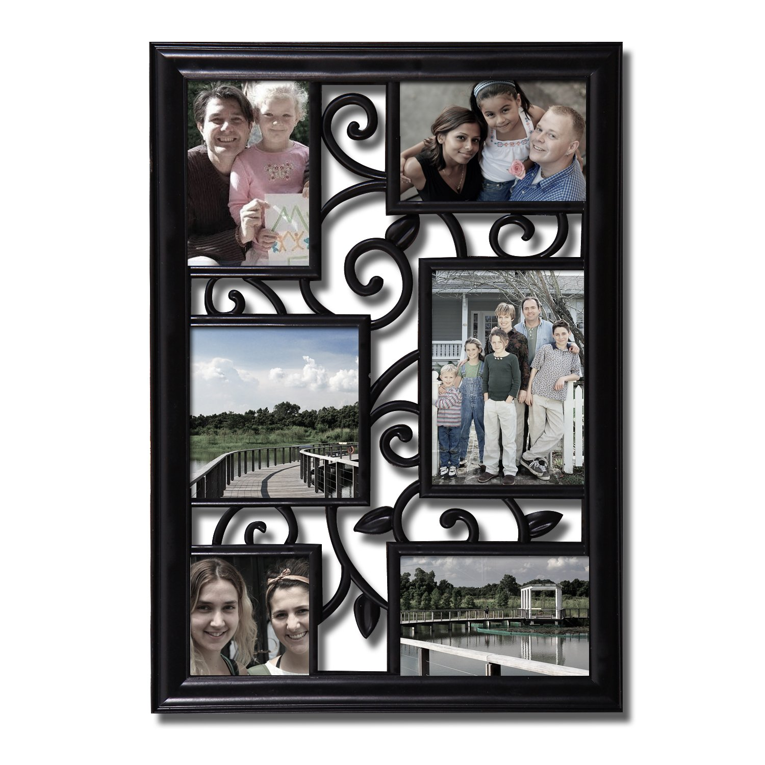 818fadffe4f Amazon.com  Adeco 6 Opening Decorative Black Filigree Wall Hanging Picture  Frame - Made to Display Three 4x6