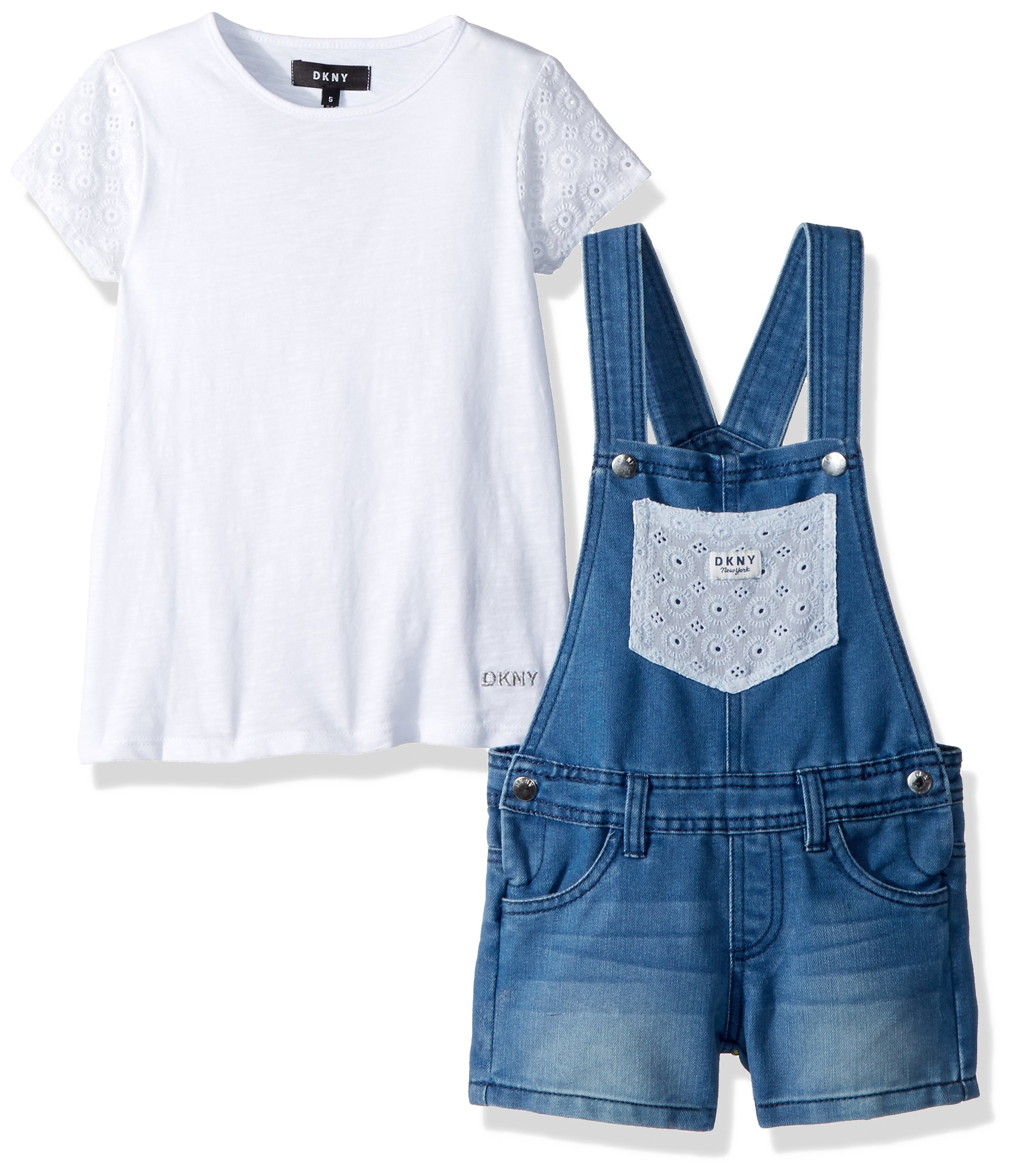 DKNY Little Girls' Fashion Top and Short Set, Overall Crochet Light Wash, 6