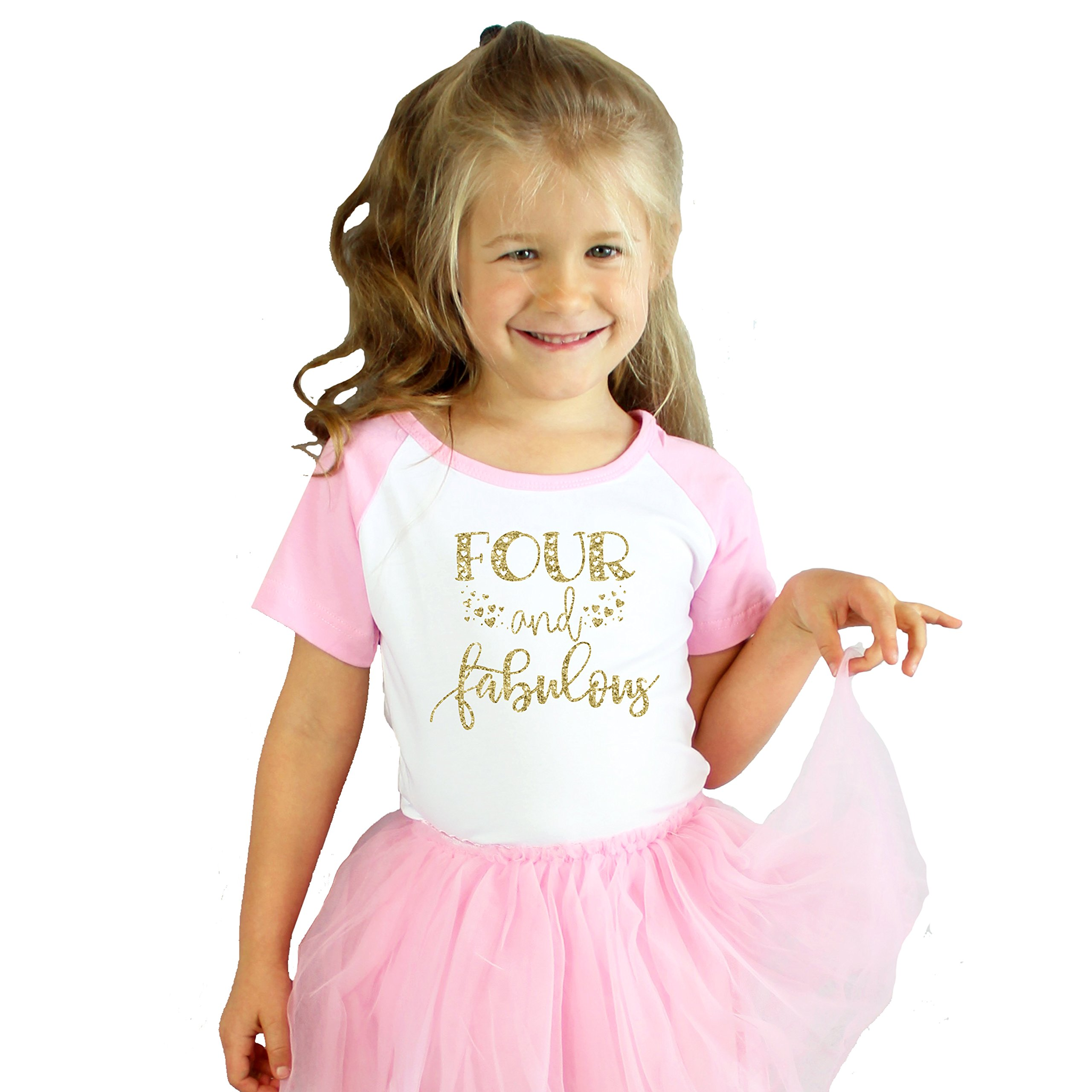 Olive Loves Apple Four and Fabulous 4th Birthday Shirt Girl Fourth Birthday Shirt for Girls Glitter Gold by Olive Loves Apple (Image #5)