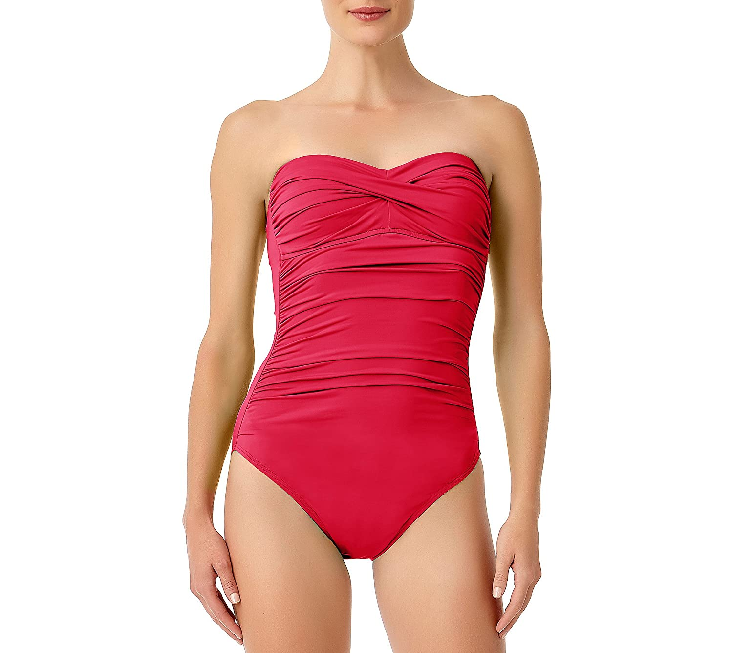 Anne Cole Women's Front-Shirred Bandeau One-Piece Swimsuit 16MO005